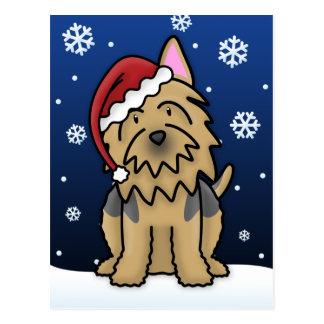 Carte postale de Noël de Kawaii Terrier australien