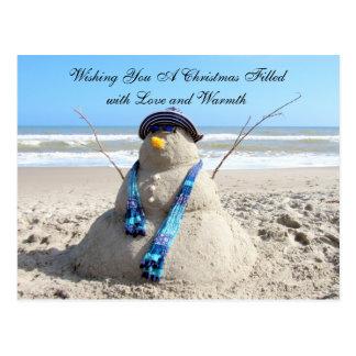 Carte postale de Noël de la femme de neige de la