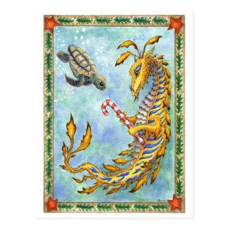 Carte postale de Noël de tortue de Dragon-Mer de