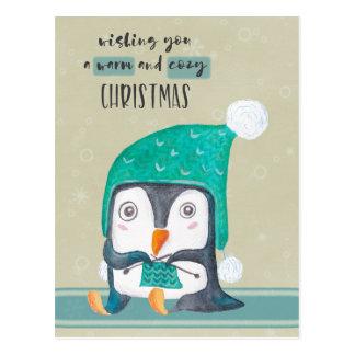 Carte postale de Noël de tricot de pingouin