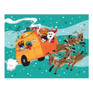 Carte postale de Noël de voyage de vacances rétro