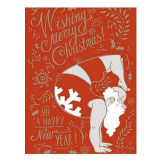 Carte postale de Noël de yoga de Père Noël