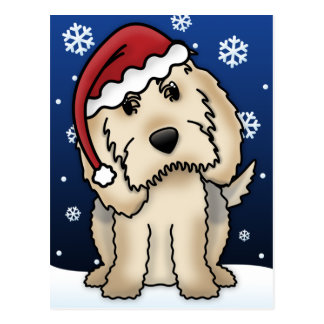 Carte postale de Noël d'Otterhound de Kawaii