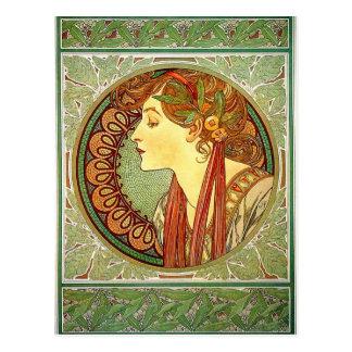Carte postale de Nouveau d'art d'Alphonse Mucha