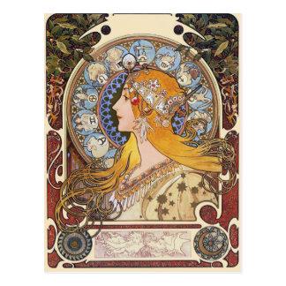 Carte postale de Nouveau d'art de Mucha - zodiaque
