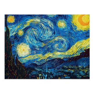 Carte postale de nuit étoilée de Van Gogh