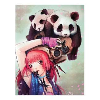Carte postale de pandas de Ninja de pêche
