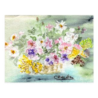 Carte postale de panier de fleur