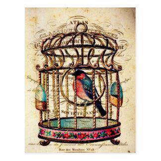 Carte postale de papier française d'art de cage à