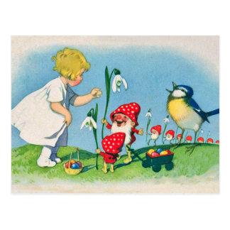 Carte postale de Pâques d'elfes de champignon