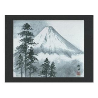 Carte postale de peinture d'encre de Mt Fuji