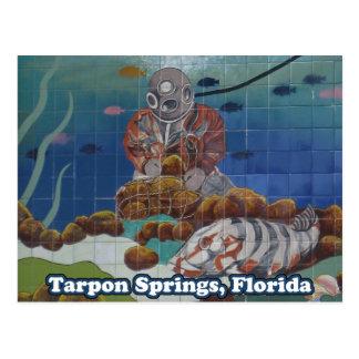 Carte postale de peinture murale de plongeur