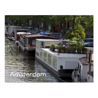 Carte postale de péniches de canal d'Amsterdam