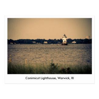 Carte postale de phare de Conimicut en Warwick, RI