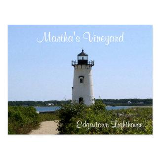 Carte postale de phare d'Edgartown de Martha's