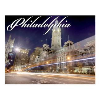 """Carte postale de Philadelphie """"ville hôtel la nuit"""