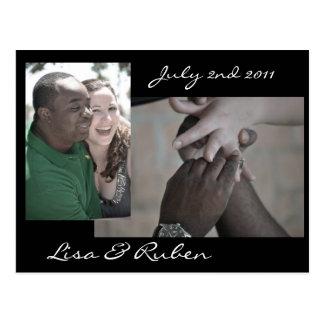 Carte postale de photo avec des temps de mariage