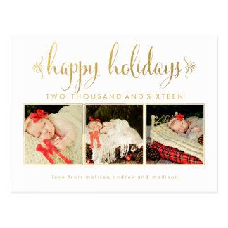 Carte postale de photo de Noël de bébés de feuille