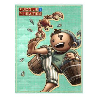 Carte postale de pirate et de crabe