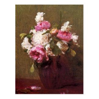 Carte postale de pivoines et de roses de Henri Fan