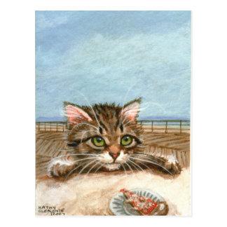 Carte postale de plage de pizza de chat de chaton