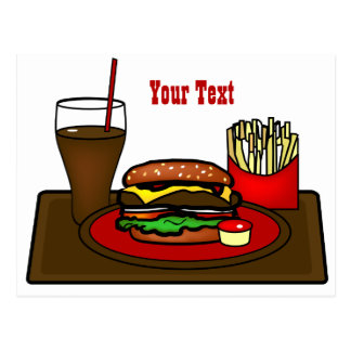 Carte postale de plateau d'hamburger