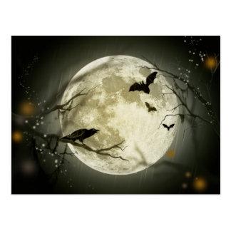 Carte postale de pleine lune de Halloween