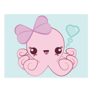 Carte postale de poulpe de Kawaii
