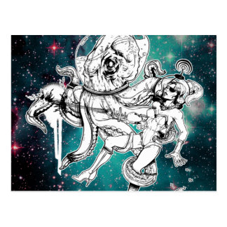 Carte postale de poussin et de poulpe de l'espace