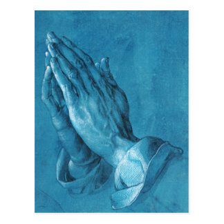 Carte postale de prière de mains de Durer