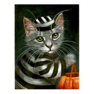 Carte postale de prisonnier de Halloween de chat
