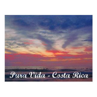 Carte postale de Pura Vida de coucher du soleil de