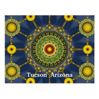 Carte postale de rangée de mandala de tournesol