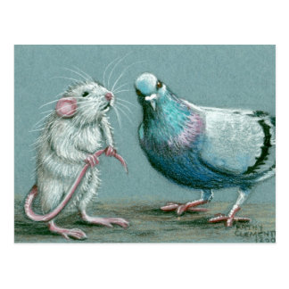 Carte postale de rat et de pigeon