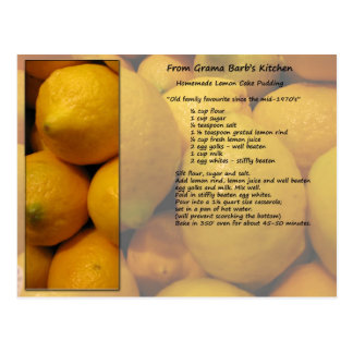 Carte postale de recette de citron