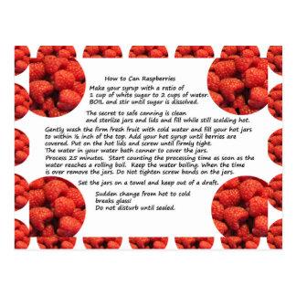 Carte postale de recette de fruit de framboise