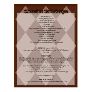 Carte postale de recette de gâteau de chocolat