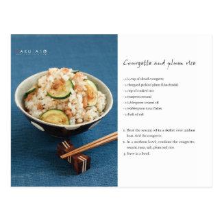 Carte postale de recette de riz de courgette et de