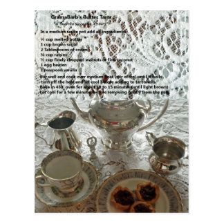 Carte postale de recette de tartes de beurre