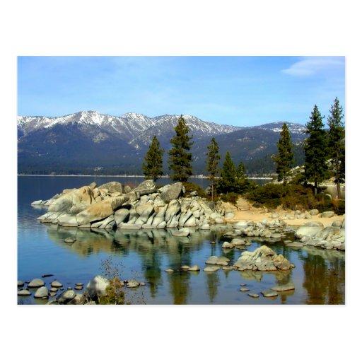 Carte postale de réflexion et de chaîne du lac Tah