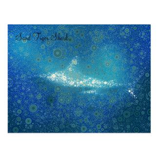 Carte postale de requin de tigre de sable d'art de