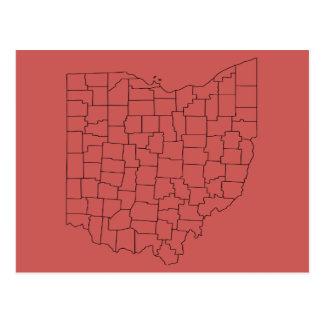 Carte postale de rouge des comtés de l'Ohio