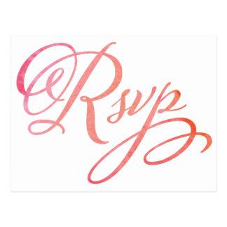 Carte postale de rougissement de l'aquarelle RSVP