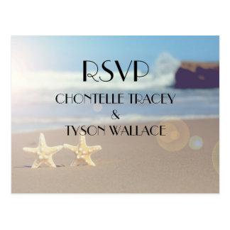 carte postale de rsvp de mariage de plage