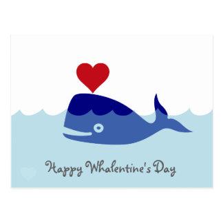 Carte postale de Saint-Valentin de baleine
