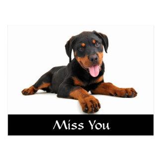 Carte postale de salutation de chiot de Mlle You