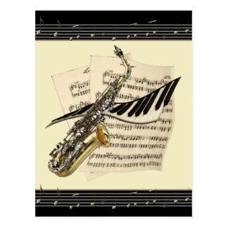 Carte postale de saxophone et de musique de piano