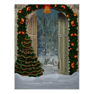 Carte postale de scène de Noël d'hiver