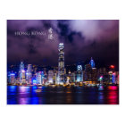 Carte postale de scène de nuit de port de Hong