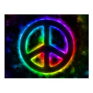 Carte postale de signe de paix de lueur